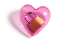 Roze hart en slot stock afbeeldingen