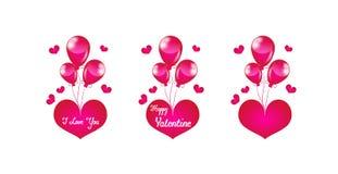 Roze hart met ballons Stock Afbeelding