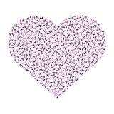 Roze hart met bladeren Stock Afbeeldingen