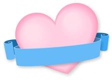 Roze hart met lintbanner Stock Afbeelding
