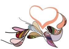 Roze hart met vliegende kleurrijke bladeren royalty-vrije illustratie