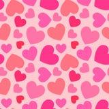 Roze hart naadloos patroon Stock Afbeelding
