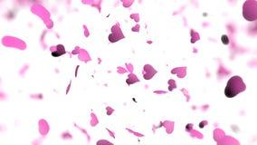 Roze hart-vormige bloemblaadjes die op een witte achtergrond met ondiepe velddiepte vallen De achtergrond van de valentijnskaarte royalty-vrije illustratie