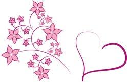 Roze hartbloem stock illustratie