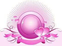 Roze harten en banner.   vector illustratie