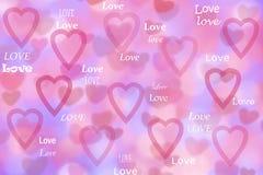 Roze harten en liefde op bokehachtergrond Stock Afbeelding