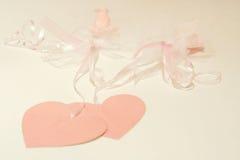 Roze Harten en Linten Stock Afbeelding
