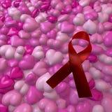 Roze harten met hiv/hulpboog Stock Fotografie