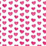 Roze harten naadloos patroon, waterverfillustratie stock illustratie