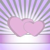Roze harten op een purpere achtergrond met stralen Stock Afbeeldingen