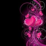 Roze harten op zwarte Stock Afbeelding