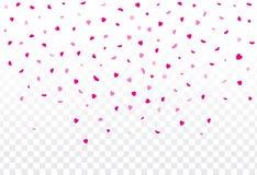 Roze hartenbloemblaadjes die op witte achtergrond voor Valentine ` s D vallen Stock Afbeeldingen