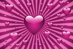 Roze hartenzonnestraal Stock Fotografie