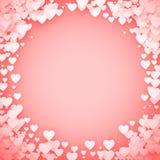 Roze Hartkader Het kader van hartconfettien De achtergrond van de valentijnskaartendag Vector illustratie stock illustratie