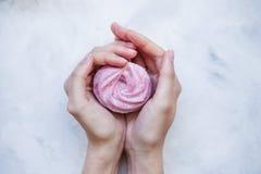 Roze heemst in handen Royalty-vrije Stock Foto's
