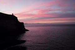 Roze hemel in zuidelijke NZ royalty-vrije stock afbeelding
