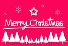 Roze het document van de Kerstmisdag de ster van de prentbriefkaarsneeuwvlok muur als achtergrond vector illustratie