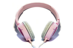 Roze hoofdtelefoons stock foto's