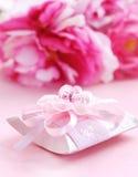 Roze huidige doos met fopspeen Royalty-vrije Stock Foto's