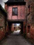 Roze huis in een rode stad. stock foto's