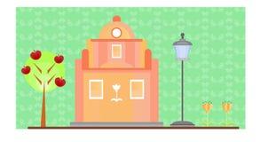 Roze Huis op groene achtergrond Stock Foto's