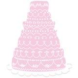 Roze huwelijkscake Stock Foto's