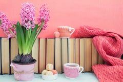 Roze hyacinten, makarons, theekoppen en sjaal dichtbij stapel van boeken Royalty-vrije Stock Foto's