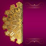 Roze kaart met gouden patroon Stock Afbeelding