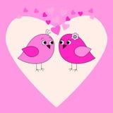 Roze kaart met vogels en harten Royalty-vrije Stock Foto's
