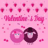Roze kaart voor de dag van de valentijnskaart Royalty-vrije Stock Afbeeldingen