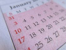Roze kalenderclose-up Royalty-vrije Stock Afbeeldingen