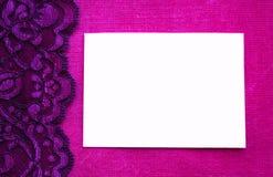 Roze kantachtergrond met witte ruimte Royalty-vrije Stock Foto