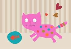 Roze Kat met plaat met vissenskelet Stock Fotografie