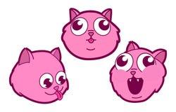 Roze Katje drie of Cat Heads in Verschillende Stemmingen in een Beeldverhaal Manga Style Set Stock Afbeeldingen