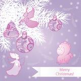 Roze Kerstmisachtergrond Stock Afbeelding