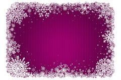 Roze Kerstmisachtergrond met kader van sneeuwvlokken Stock Fotografie