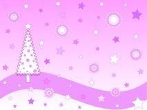 Roze Kerstmiskaart Stock Foto
