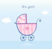 Roze kinderwagen voor meisje stock illustratie