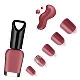 Roze kleurennagellak, borstel, steekproef Stock Fotografie