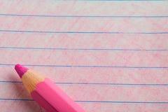 Roze kleurenpotlood met het kleuren Royalty-vrije Stock Afbeeldingen