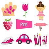 Roze kleurenreeks van acht vectorillustraties stock illustratie