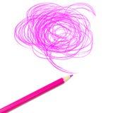 Roze kleurpotloodtekening Stock Afbeeldingen