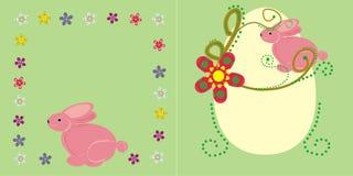 Roze konijntje en bloemen Stock Afbeeldingen