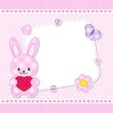 Roze konijntjeskaart stock illustratie