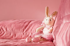 Roze konijntjesstuk speelgoed Stock Fotografie