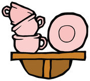 Roze koppen en platen op een planken vectortekening Stock Fotografie