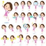 Roze kostuumzaken midden oude women_2 royalty-vrije illustratie