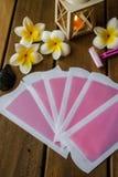 Roze koude wasstroken stock foto's