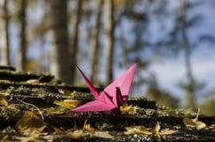 Roze kraan in hout Royalty-vrije Stock Foto's