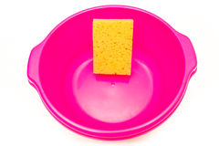 Roze kubus met spons Stock Afbeelding